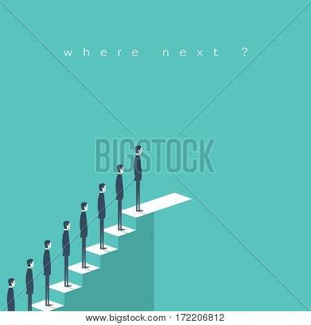 Business career opportunities with businessman standing in queue on stairs. Eps10 vector illustration.