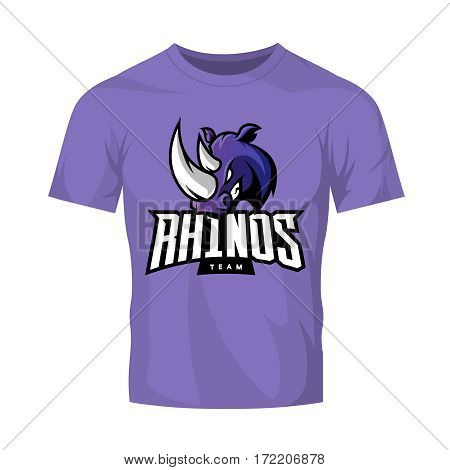Furious rhino sport vector logo concept isolated on purple t-shirt mockup. Modern web infographic professional team pictogram. Premium quality wild animal t-shirt tee print illustration.