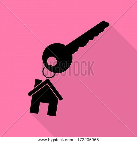 key with keychain as an house sign. Black icon with flat style shadow path on pink background.
