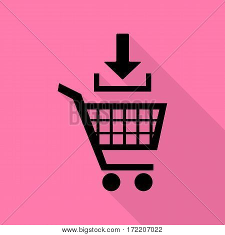 Add to Shopping cart sign. Black icon with flat style shadow path on pink background.