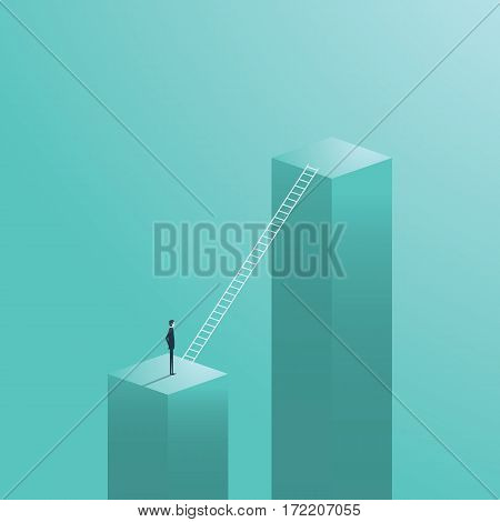Business career move, opportunity with businessman standing next to corporate ladder symbol. Eps10 vector illustration.