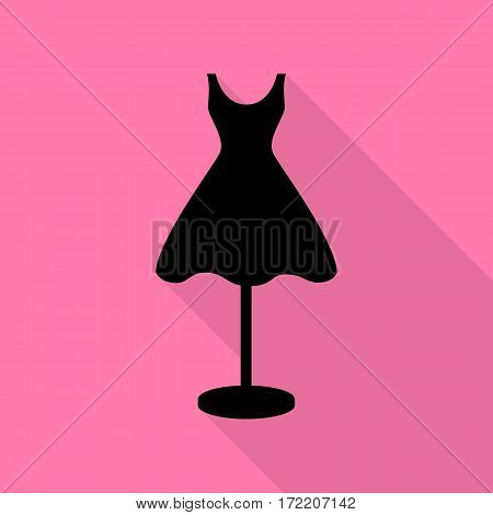 Mannequin with dress sign. Black icon with flat style shadow path on pink background.