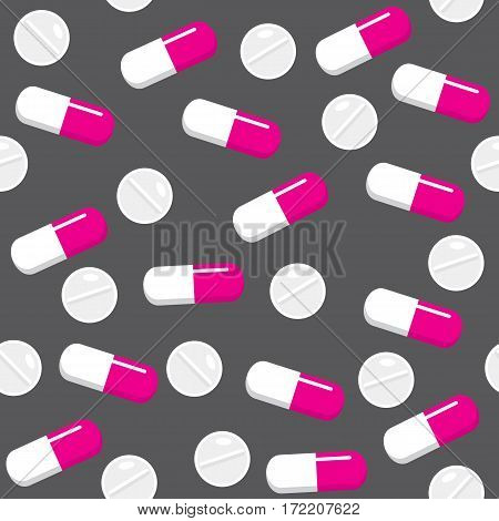 Seamless grey pattern with capsules and tablets. Medical background. Vector illustration.