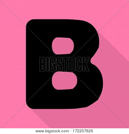 Letter B sign design template element. Black icon with flat style shadow path on pink background.