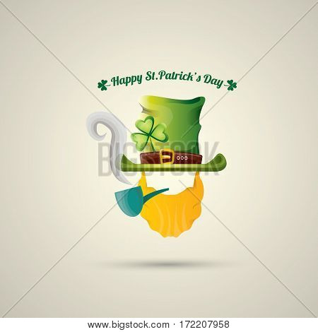 vector happy saint patricks day label with leprechaun, green hat, red beard and smoking pipe. saint patrick day poster or banner design template