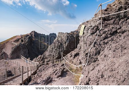 Footpath around the crater of Vesuvius Campania Italy