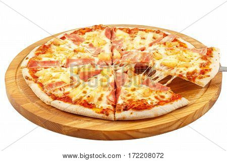 Pizza Hawaii, mozzarella, ham, pineapple isolated on white background