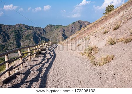 Footpath leading to the crater of Vesuvius Campania Italy