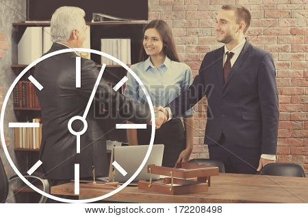 Time concept. Business people in office