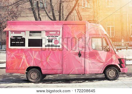 Fast food truck on city street