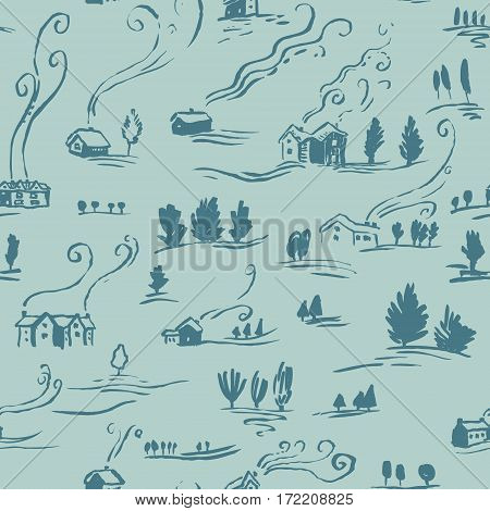 Hand drawn seamless pattern winter landscape with houses in doodle incomplete style. Artistic illustration of country side. Design element for Christmas wrapping paper cards and posters