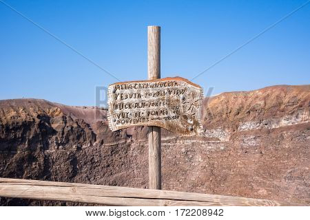 Sign on the top of Mount Vesuvius Campania Italy