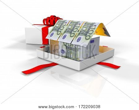 , 3d render, gift box in the house of banknotes on a white background