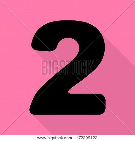 Number 2 sign design template elements. Black icon with flat style shadow path on pink background.