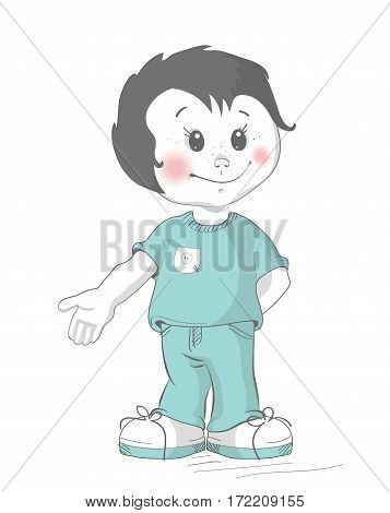 Baby boy. Vector illustration. Little brunet boy