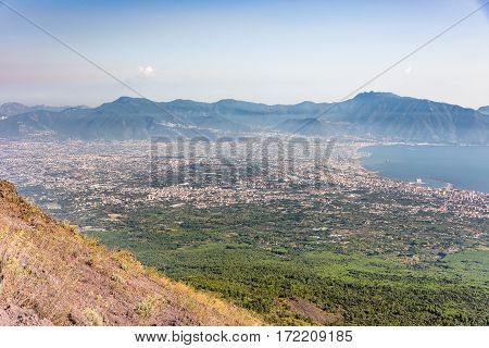 Foggy view of gulf of Naples and towns south of Mount Vesuvius