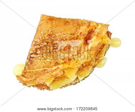 Delicious pancake with pineapple slices and sweet syrup on white background