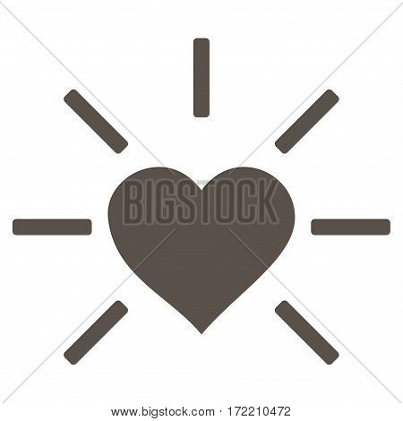 Shiny Love Heart flat icon. Vector grey symbol. Pictograph is isolated on a white background. Trendy flat style illustration for web site design logo ads apps user interface.