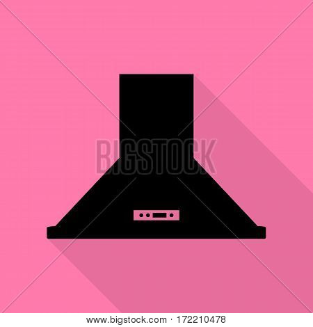 Exhaust hood. Kitchen ventilation sign. Black icon with flat style shadow path on pink background.
