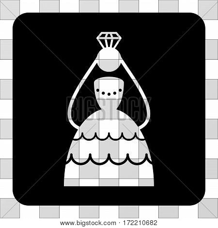 Crowned Bride rounded icon. Vector pictogram style is a flat symbol perforation in a rounded square shape, black color.