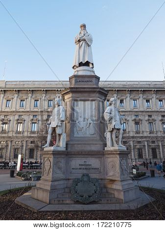Leonardo Da Vinci Monument In Milan