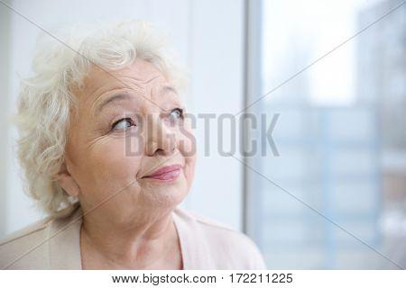 Elderly woman's portrait in light room