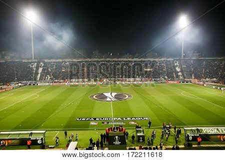 Thessaloniki Greece February 16 2017: View of the Toumba Stadium full of fans of PAOK during the UEFA Europa League match between PAOK vs Schalke played at Toumba Stadium