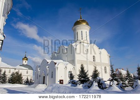 Kazan, Russia, 9 february 2017, golden domes in Zilant monastery - oldest orthodox building, wide angle