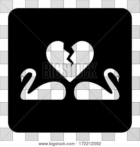 Divorce Swans interface toolbar icon. Vector pictograph style is a flat symbol hole on a rounded square shape, black color.