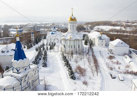 Kazan, Russia, 9 february 2017, Zilant monastery - oldest orthodox building - typical russian landscape, wide angle, aerial view