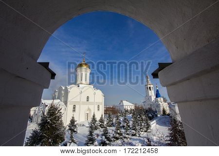 Kazan, Russia, 9 february 2017, Zilant monastery - oldest orthodox building - view from bell tower, horizontal