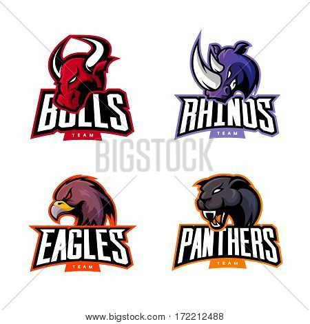 Furious rhino, bull, eagle and panther sport vector logo concept set isolated on white background.  Web infographic professional team pictogram. Premium quality wild animal and bird t-shirt tee print illustration