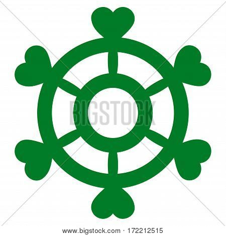 Lovely Boat Steering Wheel flat icon. Vector green symbol. Pictograph is isolated on a white background. Trendy flat style illustration for web site design logo ads apps user interface.