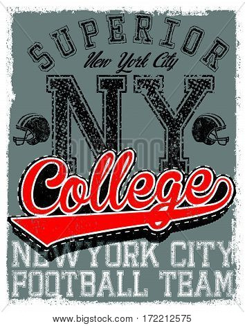 Athletic Dept. New york; Varsity Sport vector print and varsity. For t-shirt or other uses in vector.T shirt graphic