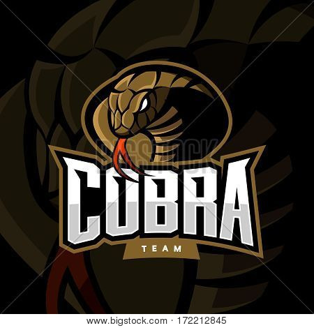 Furious cobra sport vector logo concept isolated on dark background. Web infographic military professional team pictogram. Premium quality wild snake t-shirt tee print illustration.