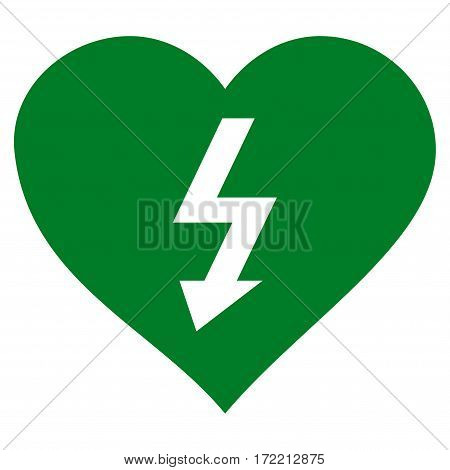 Power Love Heart flat icon. Vector green symbol. Pictograph is isolated on a white background. Trendy flat style illustration for web site design logo ads apps user interface.