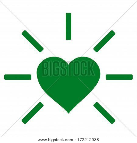 Shiny Love Heart flat icon. Vector green symbol. Pictogram is isolated on a white background. Trendy flat style illustration for web site design logo ads apps user interface.