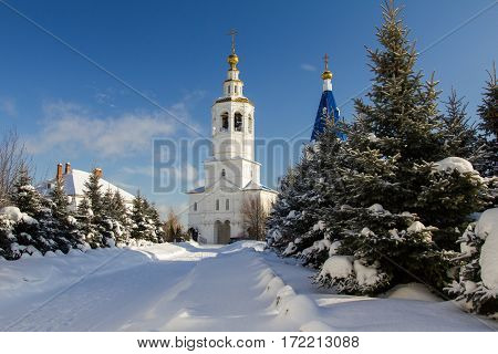Kazan, Russia, 9 february 2017, Zilant monastery - oldest orthodox building in city - winter snow sunny day, wide angle