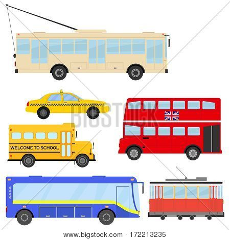 Public transport, cars, bus, school bus, tram, trolleybus Flat design vector illustration