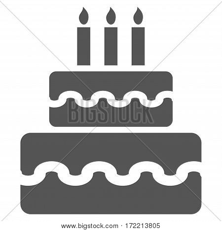 Birthday Cake flat icon. Vector gray symbol. Pictograph is isolated on a white background. Trendy flat style illustration for web site design logo ads apps user interface.