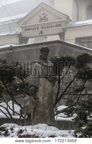 Mount St. Anna Poland - February 4, 2017: concrete figure of St. Francis in the winter fog in the Franciscan monastery on Mount St. Anna in Poland