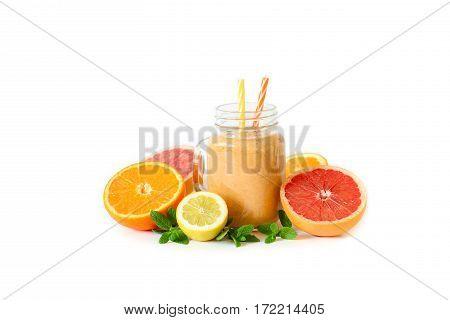Citrus Smoothie With Orange, Grapefruit, Lemon And Mint.