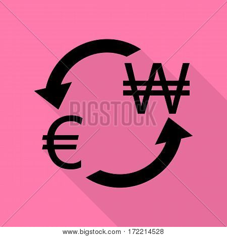 Currency exchange sign. Euro and South Korea Won. Black icon with flat style shadow path on pink background.