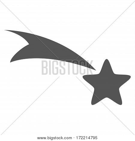 Falling Star flat icon. Vector gray symbol. Pictogram is isolated on a white background. Trendy flat style illustration for web site design logo ads apps user interface.