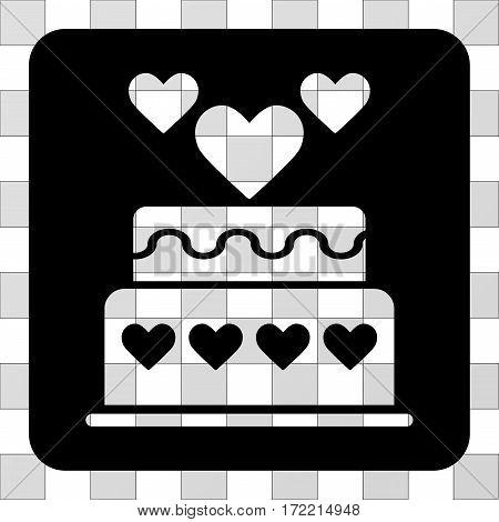 Marriage Cake toolbar icon. Vector pictograph style is a flat symbol perforation on a rounded square shape, black color.