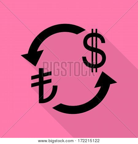Currency exchange sign. Turkey Lira and US Dollar. Black icon with flat style shadow path on pink background.