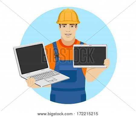 Builder holding a laptop and a piggy bank. Portrait of builder in a flat style. Vector illustration.