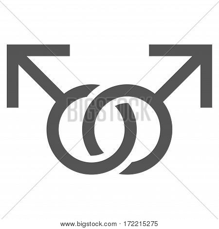 Gay Love Symbol flat icon. Vector gray symbol. Pictograph is isolated on a white background. Trendy flat style illustration for web site design logo ads apps user interface.