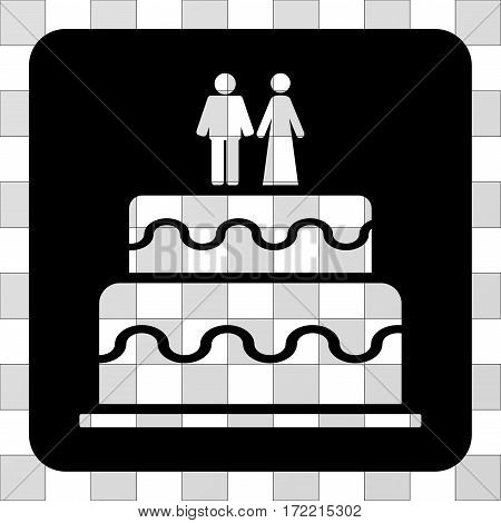 Marriage Cake interface icon. Vector pictograph style is a flat symbol perforation centered in a rounded square shape, black color.