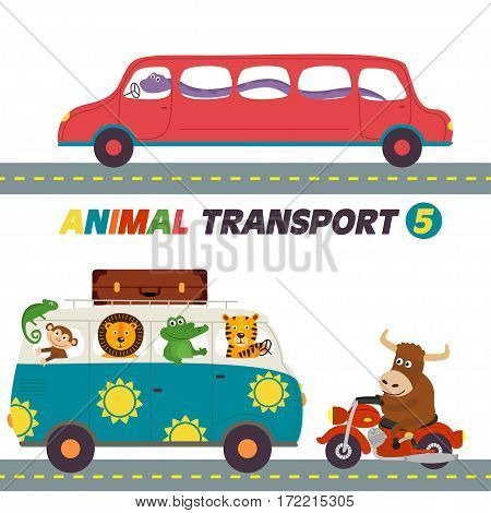set of isolated transports with animals part 5 - vector illustration, eps